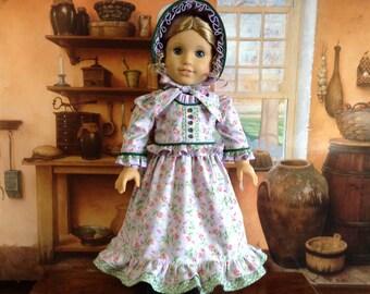 American Girl 1830's Lavender Ruffled Dress and Bonnet