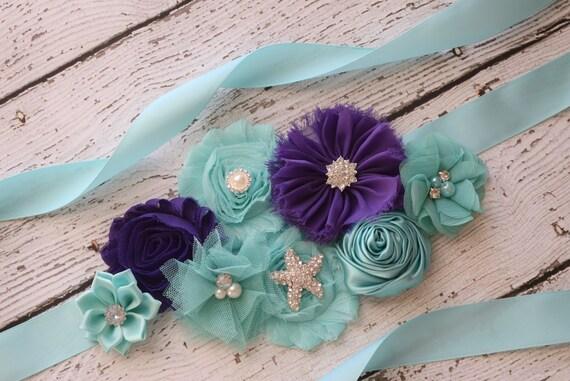 Sash, purple aqua  beach Sash #2 , flower Belt, maternity sash, wedding sash, baby shower sash
