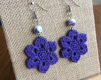 Crochet Flower Earrings with Ceramic Bead, Purple Crochet Earrings