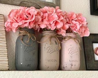 Shabby Chic/Rustic Themed Mason Jars (Quart Size)