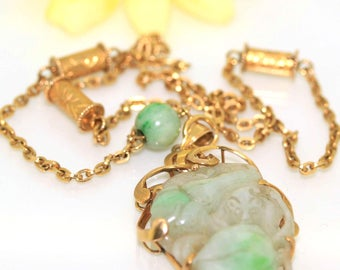 Vintage 14k Yellow gold Natural A grade Jade Jadeite Carved Rare necklace chain