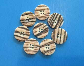 8 Vintage Plastic Buttons 1950's - Light Bark