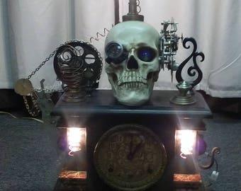 steampunk skull lamp