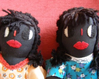 """Adorable Handmade Vintage Black/African American Twin Dolls - All Cloth  - 12"""" Tall"""