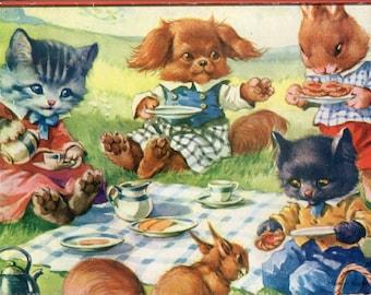 Vintage 15 Piece Wooden Jigsaw Puzzle Pets' Picnic