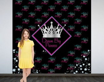 Princess Personalized Photo Backdrop -Princess Photo Backdrop, 13th Birthday Party Step and Repeat Photo Backdrop, Custom Backdrop