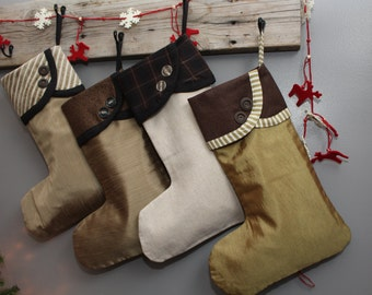 Ready To Ship: Brown, Beige, Taupe Christmas Stockings