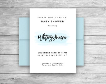 Baby Shower Invitation | Simple Baby Shower Invitation | Watercolor | Blue Baby Shower | Boy Baby Shower