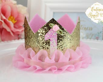 First Birthday Crown - Birthday Crown - Photo Prop - Princess Crown - One Year Crown - Party Crown - Baby Crown - Girls Crown - Princess-One