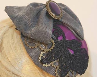 Plaid,purple and lace steampunk fascinator. Victorian burlesque.
