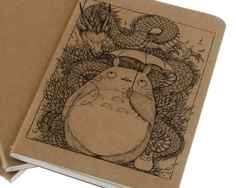 Totoro & Haku Note Book - Recycled - Molskine - Journal - Art - Ghibli - Dragon - Ink - Printed - Book