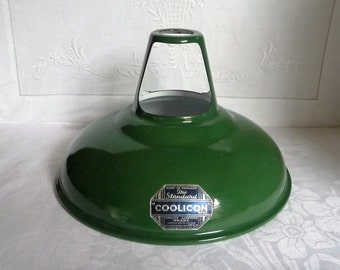 "Vintage Green Enamel Metal Lamp Shade ""Coolicon""  23cms x 15cms"