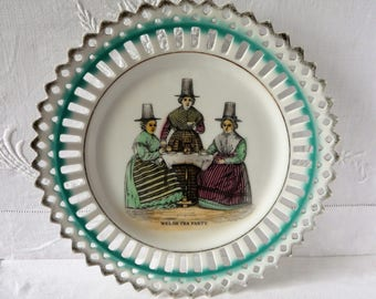 "Welsh Traditional Ladies National Dress China Ribbon Plate Early 20thc  8 1/2"" 21.5cms"