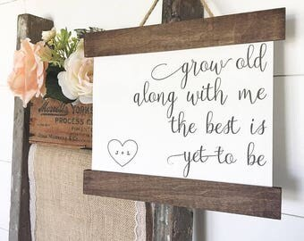 Cotton Canvas Print Hanging Frame | Grow Old Along with Me | Home Decor | Wall Art Farmhouse | Second Anniversary Mother's Day Wedding