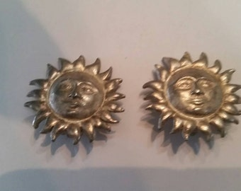 Vintage Carolee Sun Earrings Silver