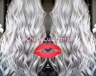 White Silver Hair Balayage Dip Dye 8A Remy Human Hair Extensions Double Weft Weave For Sewing Gluing and Tipping Silver White