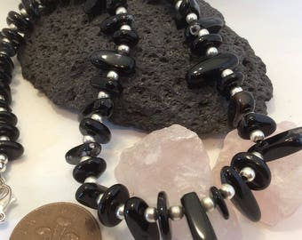 black agate nugget necklace