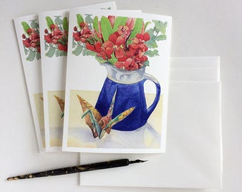 """Greeting cards set: 3 cards with envelopes - 5.5""""x7.5"""" when folded, blank inside - good luck crane & flowers"""