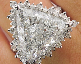 7.10ct Estate Vintage Trillion Diamond Engagement Wedding Halo Ring 14k White Gold EGL USA