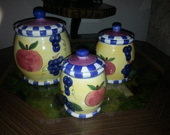 """CLEARANCE SALE !!! Vintage hand painted """"young's"""" canister set, grapes, apples, set of 3 kitchen jars lidded containers pretty"""