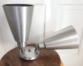 Vintage Mid Century Aluminym Double Cone Sconce Light Fixture Industrial