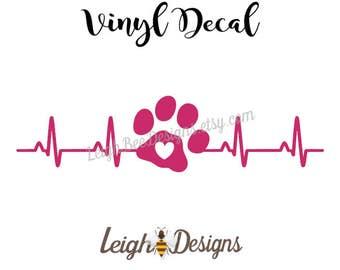 Puppy Love Vinyl Heartbeat Decal, Tumbler Decal, Car Decal, Laptop Decal, Vinyl Decal, Vinyl Sticker, Heartbeat Sticker, Custom Decal