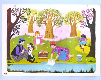 Old school poster French illustration of river Alain Gree - daycare children's room décor - post school Nathan years 60's
