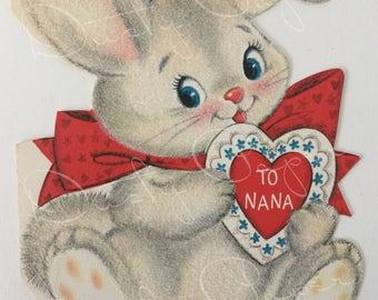 To Nana Valentine - Unused Vintage 1950s Hallmark Die Cut Flocked Card with Bunny