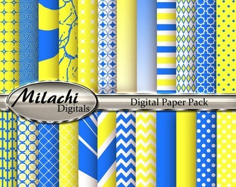 "60% OFF SALE Yellow and Blue Digital Paper Pack - 8.5"" x 11"" - Commercial Use - Instant Download -- M140"