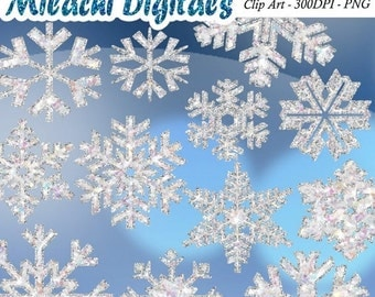 60% OFF SALE Glitter Snowflakes clipart, frozen snowflakes, digital clip art, instant download, printable, commercial use- M301