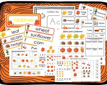 Fall Curriculum Package Download. Preschool-Kindergarten. Worksheets, Games, and Flashcards in PDF files.