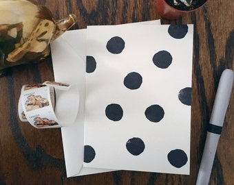 Black and White Polka Dot Blank Card