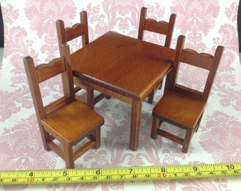 Dollhouse Miniature Kitchen Furniture Mahogany Wood Dining Table w/ 4 Chairs Set 1:12