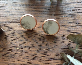 Marble & Copper Clay Studs