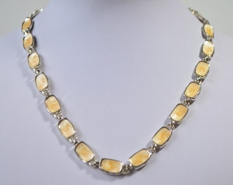 Vintage Yellow Enamel Bead Silver Metal Necklace