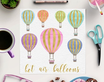 IN THE SKY, Hot Air Balloon Clipart, Gold And Watercolor Balloons, For Birthday, Wedding, Invites, Instant Download, Coupon Code: BUY5FOR8