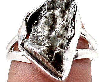 Women's Hand Made Sterling Silver and Meteorite Ring Size 6.25