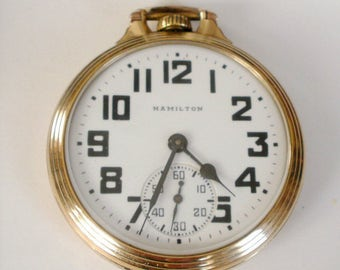 Hamilton 992B 21 Jewels Railroad Pocket Watch Bar Over Crown 16S Goldfilled Case in Perfect working condition Circa 1946