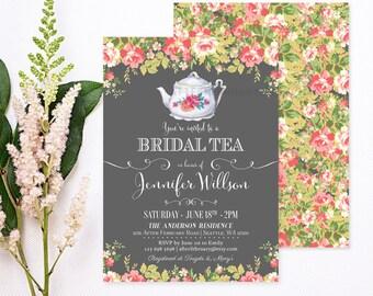 Bridal Shower Tea Party Invitations // Bridal Shower Invites Vintage Bridal Tea Party Kitchen Tea Invite // Printable No.432BRIDE