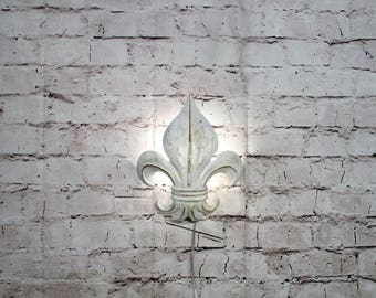 Vintage Fleur Di Lis Wall Sconce White Shabby Accent Light Rewired