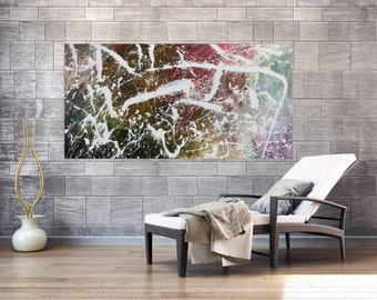 Original abstract artwork on canvas ready to hang 90x180cm #771