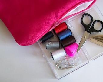 travel sewing kit bright pink mini sewing bag sewing kit