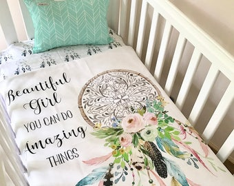 BABY BEDDING SET: Baby Cot / Crib Quilt Blanket Boho Amazing Things Dreamcatcher Baby Girl Crib Set Fitted Sheet Cushion
