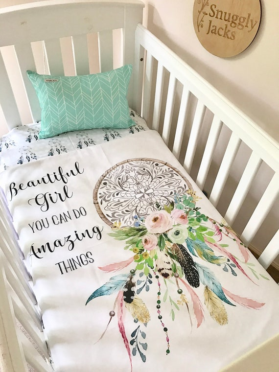 Dream Catcher Baby Bedding Baby Cot Crib Quilt Blanket Boho Amazing Things Dreamcatcher 4