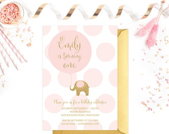 First Birthday Invitation, Pink and Gold First Birthday Invitation, Elephant First Birthday Invitation, Girl Birthday Invitation, Pink Gold