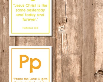 Alphabet ABC Bible Verse Flashcard Set - Printable PDF - Instant Download