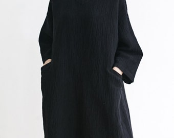 Black Linen Dress,Texture Linen Loose Dress Tunic,V Neck Dress,Spring Dress