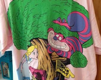 Vintage Disney Alice in Wonderland Cotton night gown - light pink -Cheshire Cat