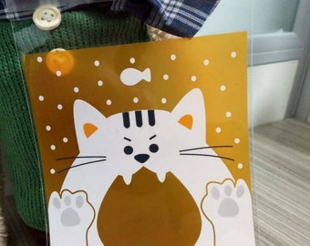 12 Cat Self Adhesive Cellophane Bags 10 x 11cm