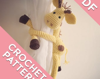 Giraffe curtain tie back, tieback, crochet pattern PDF instant download PATTERN